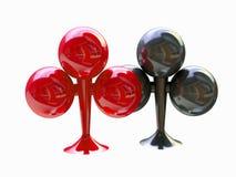 Zwart en de Rode Clubs van het kostuum, de Symbolen van de Kaart Stock Foto