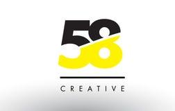 58 zwart en Geel Aantal Logo Design royalty-vrije illustratie