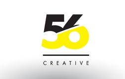 56 zwart en Geel Aantal Logo Design Stock Illustratie