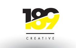 189 zwart en Geel Aantal Logo Design Royalty-vrije Stock Afbeeldingen