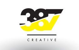 387 zwart en Geel Aantal Logo Design Royalty-vrije Stock Afbeelding