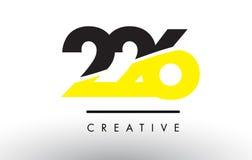 226 zwart en Geel Aantal Logo Design Royalty-vrije Stock Afbeeldingen