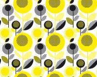 Zwart en geel geweven jaren '60 bloemen retro patroon Stock Fotografie