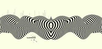 Zwart en geel ontwerp Patroon met optische illusie Abstracte 3d geometrische achtergrond royalty-vrije illustratie