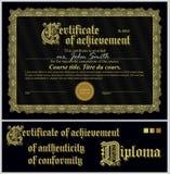 Zwart en gouden certificaat malplaatje horizontaal Stock Afbeeldingen