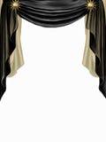 Zwart en gouden gordijn Stock Afbeelding