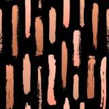 Zwart en gouden nam van de verfslagen van de gradiënt het abstracte droge borstel naadloze patroon toe vector illustratie