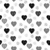 Zwart en grijs naadloos patroon met harten stock illustratie