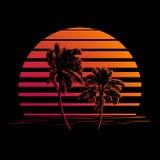 Zwart en oranje strepenembleem met palmen Royalty-vrije Stock Afbeelding