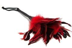 Zwart-en-rood Bevederd die amuletmateriaal op witte backg wordt geïsoleerd stock foto