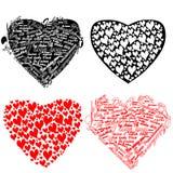zwart en rood hart met harten en woorden I lo Stock Afbeelding