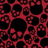 Zwart en rood menselijk schedel naadloos patroon Royalty-vrije Stock Afbeeldingen
