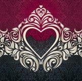 Zwart en rood uitstekend bloemenuitnodigingsontwerp als achtergrond met ecruornamenten Stock Foto