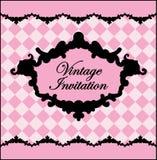 Zwart en roze uitstekend malplaatje Vector illustratie stock illustratie