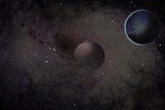 Zwart gat en planeten royalty-vrije illustratie