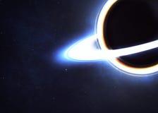 Zwart gat in ruimte stock afbeelding