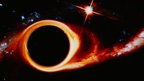 Zwart gaten buigende ruimte Royalty-vrije Stock Afbeelding