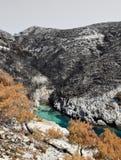 Zwart gebrand land en blauwe baai Stock Afbeelding