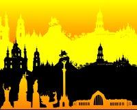 Zwart geeloranje silhouet van Kiev Stock Foto