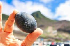 Zwart Gekookt Ei van Owakudani in Hakone royalty-vrije stock afbeelding
