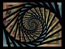 Zwart Gouden Blauw Spiraalvormig Patroon Stock Afbeelding