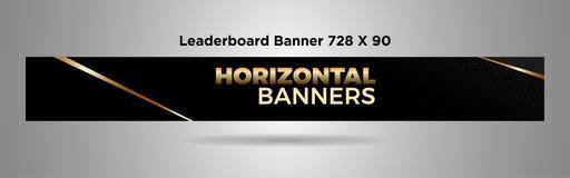 Zwart gouden eenvoudig ontwerp vector-02 van de Leaderboardbanner 728x90 stock illustratie