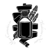 Zwart gravureetiket van schoonheidsmiddelen of geneeskunde Glasfles met rozemarijnolie Stock Foto