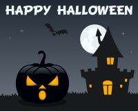 Zwart Halloween-Pompoenspookhuis Royalty-vrije Stock Afbeelding