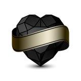 Zwart hart gouden-01 stock illustratie