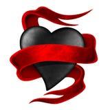 Zwart hart met banner Royalty-vrije Stock Afbeeldingen
