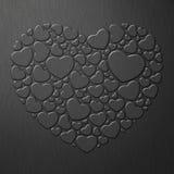 Zwart hart op metaalblad Stock Fotografie