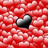 Zwart hart op rode hartachtergrond Stock Fotografie