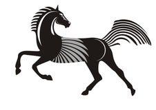 Zwart het lopen paard Royalty-vrije Stock Foto