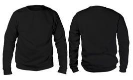 Zwart het modelmalplaatje van het sweater lang sleeved overhemd Royalty-vrije Stock Afbeeldingen