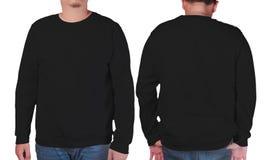 Zwart het modelmalplaatje van het sweater lang sleeved overhemd Royalty-vrije Stock Fotografie