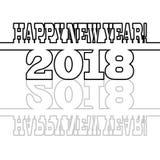 Zwart inschrijvings Gelukkig Nieuwjaar 2018 op de witte achtergrond Stock Afbeeldingen