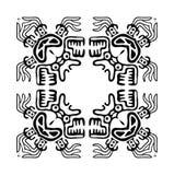 Zwart kader in inheemse stijl met draken, vector Stock Foto