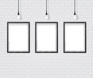 Zwart Kader op Bakstenen muur Stock Foto's