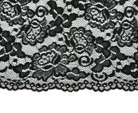 Zwart kant met patroon met vormbloem Royalty-vrije Stock Afbeelding