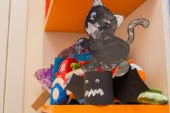 Zwart kat en knuppeldocument Royalty-vrije Stock Fotografie