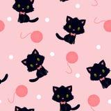 Zwart katje met breiend garen naadloos patroon Stock Afbeelding