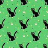 Zwart katten naadloos patroon Stock Foto