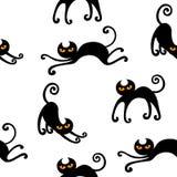 Zwart katten naadloos patroon Royalty-vrije Stock Foto's