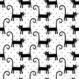 Zwart katten naadloos patroon op stippenachtergrond Royalty-vrije Stock Afbeelding