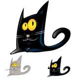 Zwart kattenbeeldverhaal Stock Foto