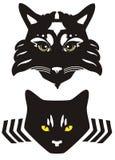 Zwart kattenhoofd met gele ogen Royalty-vrije Stock Afbeelding