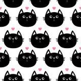 Zwart kattenhoofd met weinig roze hart Leuk beeldverhaalkarakter De inzameling van het babyhuisdier Naadloos Patroon Verpakkend d stock illustratie