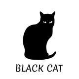 Zwart kattensilhouet op witte achtergrond Vector illustratie Stock Foto's