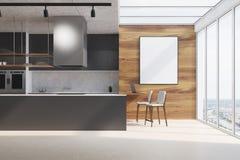 Zwart keukenteller, hout en beton, affiche vector illustratie