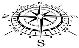 Zwart kompas Stock Foto